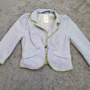 Free people blue and white stripped blazer size 2